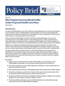 West Virginia Economy Would Suffer Under Proposed Health ...